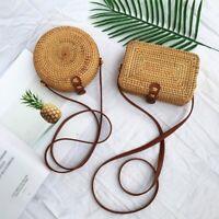 Women Girl Summer Round Straw Shoulder Bags Rattan Bag HandWoven Beach Crossbody