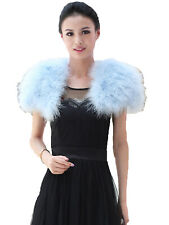 Women Real Ostrich Feather Fur Cape Protect Shoulders Party Shawls Light Blue