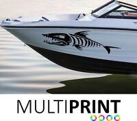2 X Custom Boat Bone Fish Decals Stickers Graphics Vinyl Name FREE P&P BOAT1