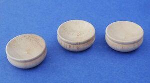 Miniature Dollhouse Set of 3 Wood Bowls 1:12 Scale New