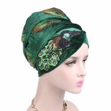 Women Sequin Peacock Embroidery Velvet Turban Long Tail Cap Headwrap Scarf Hijab