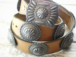 Vtg Old Pawn NAVAJO Deep Stamp Repousse STERLING SILVER Concho Belt Buckle 444g