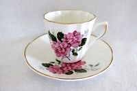 Royal Dover Bone China England Teacup and Saucer ~ Pink Fluffy Flowers