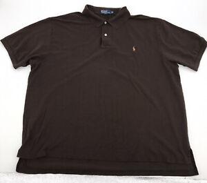 Polo Ralph Lauren Mens Brown Short Sleeve Polo W/Color Polo Logo Sz 3XB