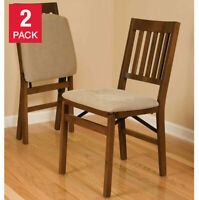 2 - Pack Solid Wood Upholstered Folding Chair, Padded Seat, Fruitwood Finish