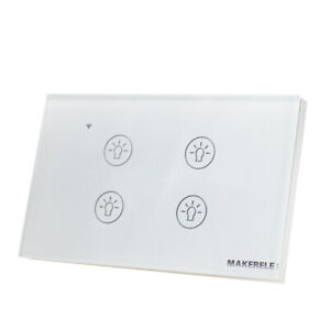 US 1 Way 4 Gang Smart WiFi Light Wall Touch Switch Glass Panel Neutral Fire Line