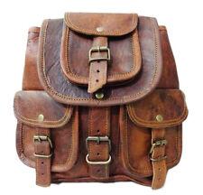 "Vintage Genuine Leather Drawstring 12"" Hiking Backpack Travel Rucksack Brown Bag"