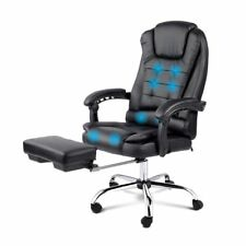 8 Point Executive Massage Office Computer Chair Heated Recliner Footrest Black