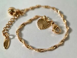 """9ct 9k Yellow """"Gold FILLED""""Young Girl Twisted ANKLE CHAIN Bell ANKLET 5.9""""(1-4Y)"""