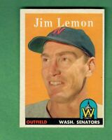 1958 TOPPS #15 JIM LEMON WASHINGTON SENATORS NEAR MINT OC