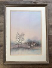 VINTAGE WATER COLOUR PAINTING 'A DAY IN NOVEMBER' FRENCH ARTIST ALFERIO MAUGERI