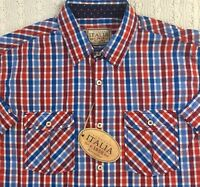 VINTAGE ITALIA Men's S/S Short Sleeve Shirt L Large Red White Blue NWT $79+ New