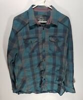 Mens BKE Buckle Relaxed Fit Teal Long Sleeve Button Down Shirt Size Large L