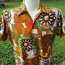 Hawaiian Shirt Atomic Tiki Sz Med Go Barefoot in Paradise Vintage 50s 60s Groovy