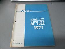 Vintage Sno Jet Factory Parts List Manual 1971 Star Jet