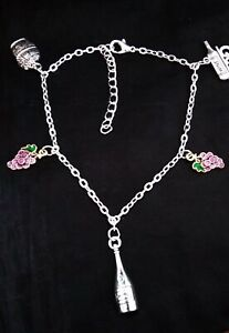 A FUNKY Wine Lovers Anklet on Silver Plated Chain - Bottle Grapes and Barrell