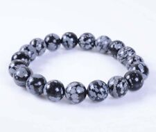 "10mm Snowflake obsidian round gemstone beads stretchable bracelet 7.5"" J68"
