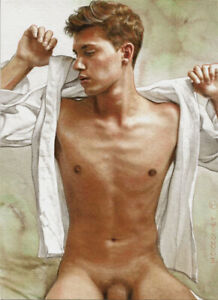 ORIGINAL Artwork Male Nude Drawing Painting Gay Interest MCicconneT~ REPOSTE