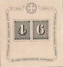 SVIZZERA 1943 FOGLIETTO CENT.PRIMO FRANCOBOLLO SVIZZERO MNH ** UNIFICATO BF 9