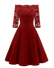 Womens Vintage Lace Boat Neck Wedding Cocktail Evening Party A Line Formal Dress