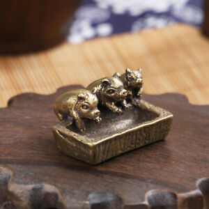 Solid Brass three little pigs ornaments pig trough Figurine Statue Pig Ornaments