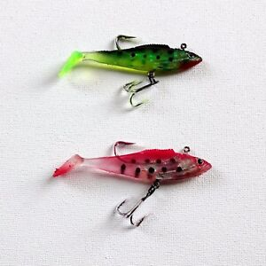2X 9cm Soft Fish Lures Bait Pike Tackle Fishing Catching Trapping Barbed Hook UK