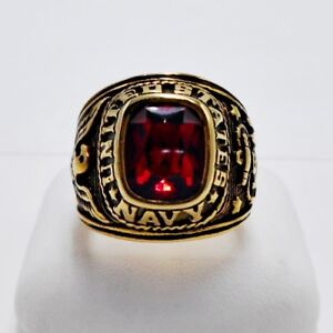 MEN RING RUBY STAINLESS STEEL GOLD US MILITARY SOLDIER EAGLE SQUARE HUGE SIZE 10