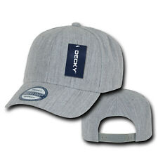 HEATHER GREY Blank SNAPBACK HAT Plain Solid 6 Panel CURVE BILL Baseball Cap