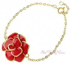 Delicate 18 Carat Gold Plated Enamel Summer Flower Floral Bloom Charm Bracelet