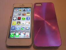 Purple iPhone SE 5S 5G 5 SPIRAL Aluminum Metal Back Designer Case & Clear Sides