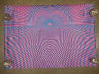 Kaszemacher Red//Blue 14x14 Vintage Black light psychedelic Heavy Paper by J