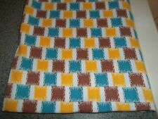 Vintage Feed Sack Feedbag Quilt Fabric Material Brown Teal Gold Boxes Squares #6
