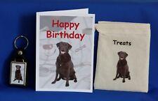CHOCOLATE LABRADOR Gift Set con carta di compleanno borsa di tela trattare e portachiavi
