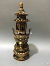 13'' copper carved dragon lion pavilion pagoda incense burner censer statue