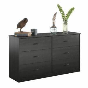 Classic 6 Drawer Dresser Black Oak Storage Organizer Bed Furniture Clothes