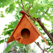 Wooden Bird House Handmade Hanging Birdhouse Teak Wood Nest Box Garden Outdoor