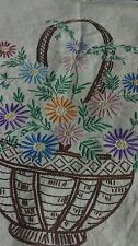 vintage embroidery on linen  piece basket of flowers
