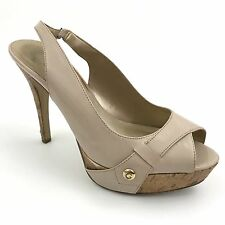 GUESS Nude Patent Leather Platform High Heel Slingback Shoes Women's Size 7.5 M