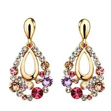 S12 Made Using Swarovski Crystals Colorful Oval Drop Earrings $78
