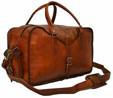Mens Genuine Leather Vintage Duffle Gym Large Travel Weekend Luggage Bag ...