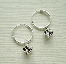 925 Sterling Silver Skeleton Skull Drop Dangle Hoop Sleepers Earrings