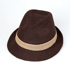 "Men Women Summer Beach Fedora Hat For Unisex w/Linen ""Made In Korea"" Dark Brown1"