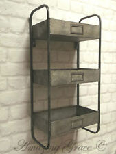 Vintage Industrial Style Metal Wall Shelf Unit Storage Cupboard Cabinet Rack NEW
