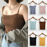Ultra Stretch Strappy Square Neck Fitted Ribbed Knitted Tank Top Cami Crop Top