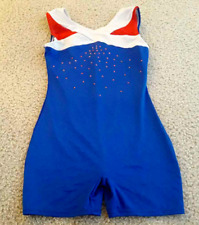 Girl's Blue, Red and White Leotard Size 7/8 Dance Gymnastics Tumbling