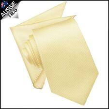 Light Gold Yellow Mens Tie With Matching Pocket Square Handkerchief Hanky Napkin