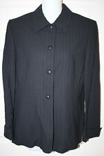 NWT TALBOTS Size 8 Black Pinstripe Wool Blend Blazer JACKET Lined Italy Rtl $208