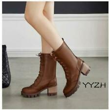 Women's Brogue Carving Block Chunky heels Lace up Leather Combat Mid Calf Boots
