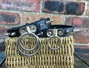 Real Leather Spiked D & O-Ring Choker Choice of Colour Ring Size and Spikes