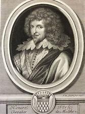 Honoré d'Urfé Chevalier de Malte écrivain gravure Van Schuppen Van Dyck 1699